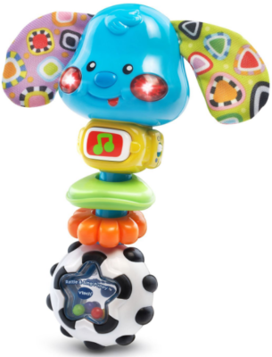 This is an image of babie's rattle puppy in colorful colors