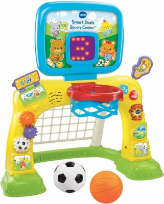 This is an image of a 2-in-1 toddler's basketball hoop sports center by VTech.
