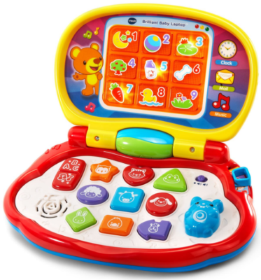 This is an image of babie's laptop toy by VTech in colorful colors