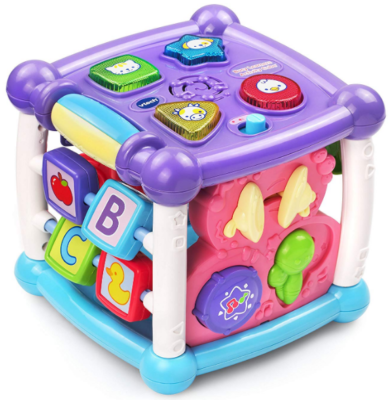 This is an image of kid's activity cube in purple color