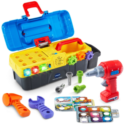 This is an image of kid's VTech Toolbox toy in multi-colors
