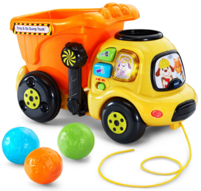 This is an image of toddler's Drop and go dump truck in colorful colors