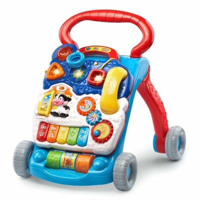 This is an image of a blue learning baby walker by VTech.