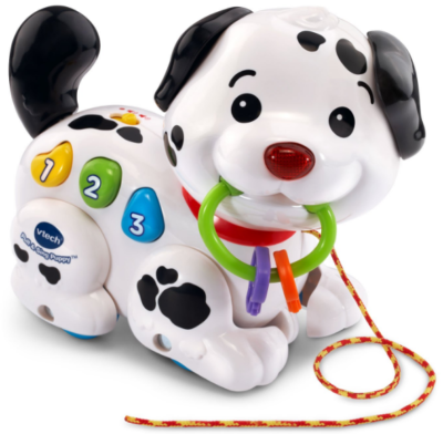 This is an image of kid's pull and sing puppy dog in white and black colors
