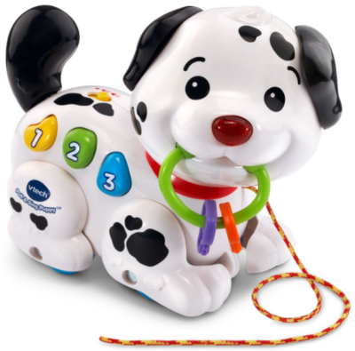 This is an image of toddler's puppy toy by Vtech in black and white colors