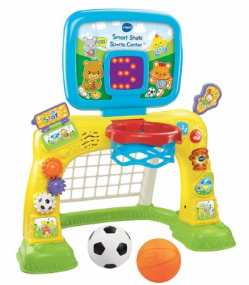 This is an image of a 2 in 1 basketball and soccer sports center for babies by VTech.