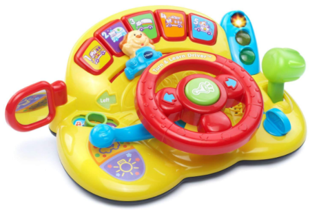 This is an image of kid's Turn and learn driver by VTech in yellow and red colors