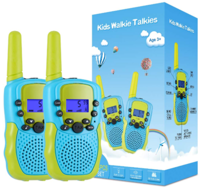 This is an image of kid's walkie talkies radio toy in blue and green colors