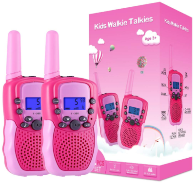 This is an image of kid's walkie talkies in pink color