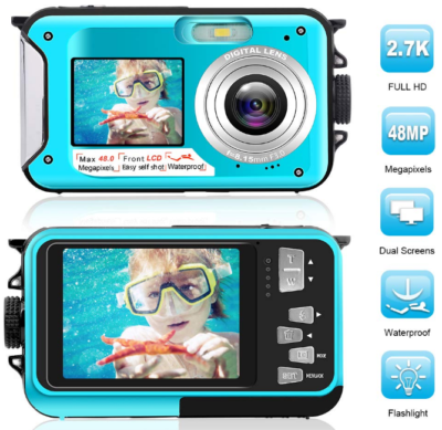 This is an image of Teen's Waterproof digital camera in black and blue colors