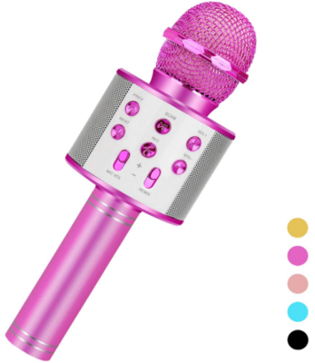 This is an image of kid's wireless microphone in pînk color