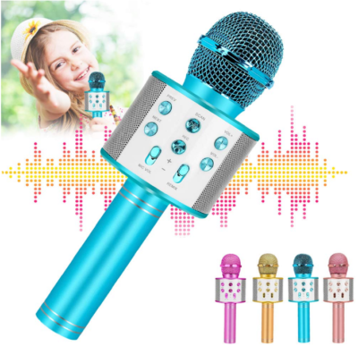 This is an image of girl's Wireless karoake microphone in light blue color