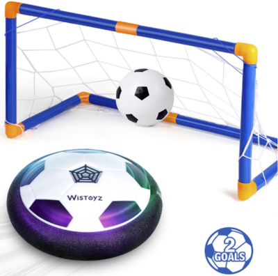 This is an image of kid's soccer ball set with 2 goals in orange and blue colors