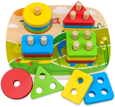 This is an image of toddler's wooden shape toy in colorful colors