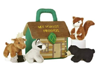 This is an image of a My Forest Friends plush toy set by ebba designed for toddlers.