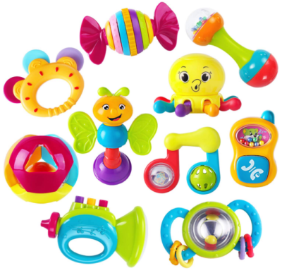 This is an image of babie's rattles teether 10pieces