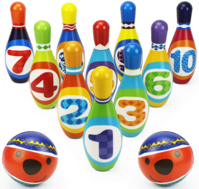 This is an image of toddler's bowling toys set in colorful colors
