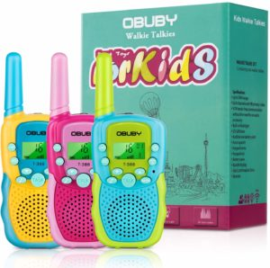three colorful walkie talkies