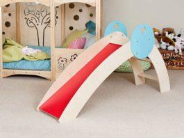 inside kids bedroom, toddler indoor slide, red