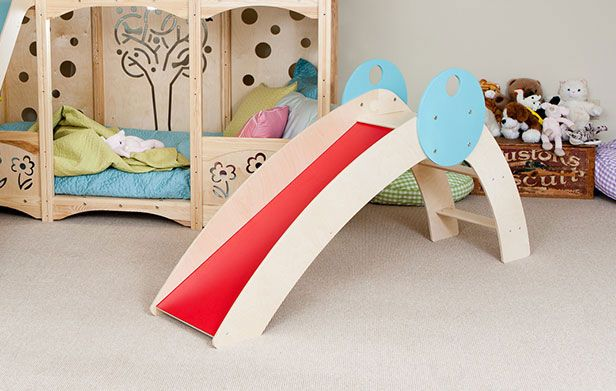 inside kids bedroom, toddler indoor slide, red