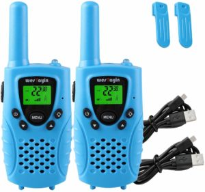 two blue colored walkie talkies