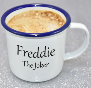 "A sample image of the DIY customized mug with ""Freddie, the Joker"" printed"