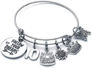 this is an image of a 10th birthday charm bracelet