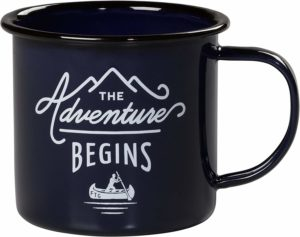image of black enamel mug with 'adventure begins' printed