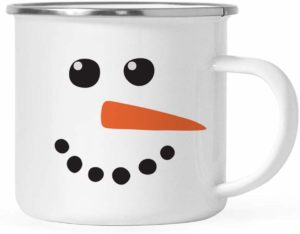 image of a white enamel mug with the face of a snowman