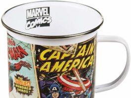 image of white mug with marvel superheroes printed