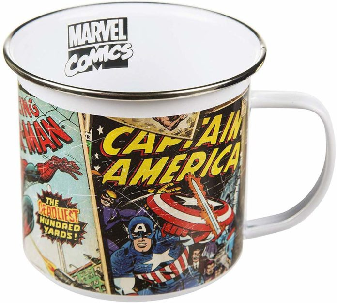 image of white mug with marvel superheroes printed