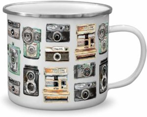 image of white mug with retro cameras printed on it