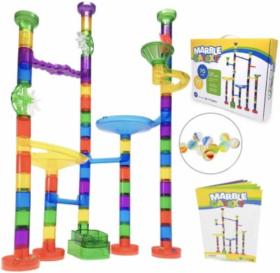 This is an image of Marble Run Sets for Kids - Marble Galaxy Fun Run Set Game - Translucent Marble Maze Race Track Discovery Toys - Educational STEM Toy Building Construction Games - 90 Marbulous Pcs & Glass Marbles