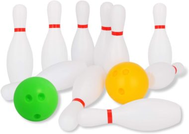 This is an image of Liberry Kids Bowling Set Includes 10 Classical White Pins and 2 Balls, Suitable as Toy Gifts, Early Education, Indoor & Outdoor Games, Great for Toddler Preschoolers and School-age Child, Boys & Girls