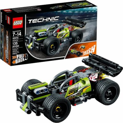 This is an image of LEGO Technic WHACK! 42072 Building Kit with Pull Back Toy Stunt Car, Popular Girls and Boys Engineering Toy for Creative Play (135 Pieces)