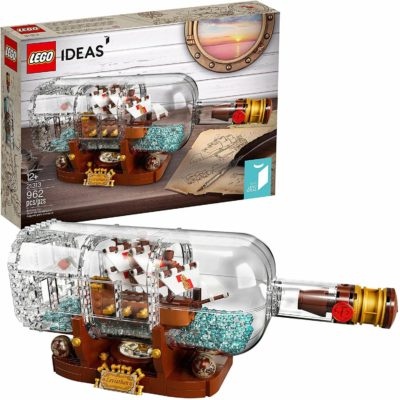 This is an image of LEGO Ideas Ship in a Bottle 21313 Expert Building Kit, Snap Together Model Ship, Collectible Display Set and Toy for Adults (962 Pieces)