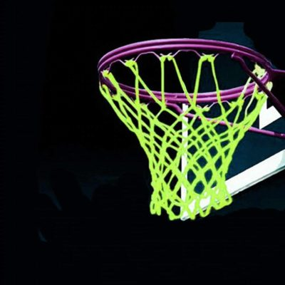 This is an image of LEADTEAM Nightlight Basketball Net Luminous Outdoor Portable Sun Powered Sports Nylon (Green)