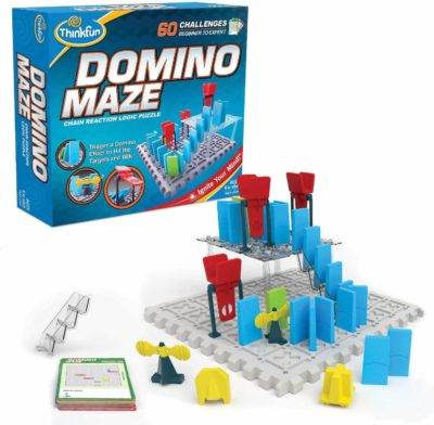 This is an image of Think Fun 44001012 ThinkFun Domino Maze STEM Toy and Logic Game for Boys and Girls Age 8 and Up - Combines The Fun of Dominos with The Challenge of a Puzzle