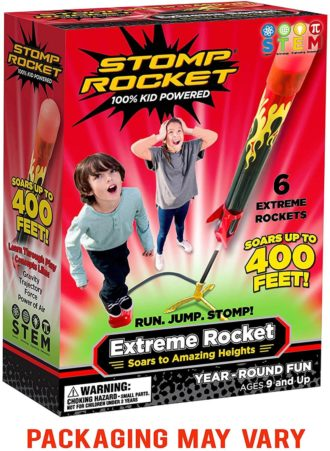 This is an image of Stomp Rocket Extreme Rocket 6 Rockets - Outdoor Rocket Toy Gift for Boys and Girls- Comes with Toy Rocket Launcher - Ages 9 Years Up