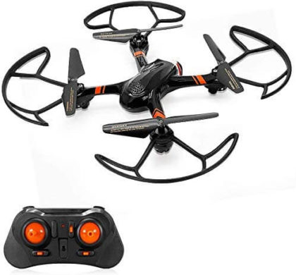 This is an image of Mini RC Helicopter, Mould King Super-F Remote Control Quadcopter Drone 4CH 2.4GHz 6-Axis Mini Drone RTF with Headless Mode LED Flashing (Black)