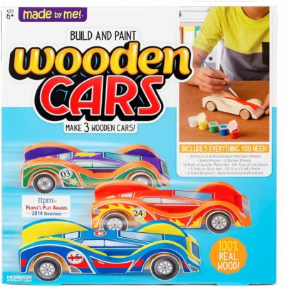 This is an image of Made By Me Build & Paint Your Own Wooden Cars by Horizon Group Usa, DIY Wood Craft Kit, Easy To Assemble & Paint 3 Race Cars, Multicolored