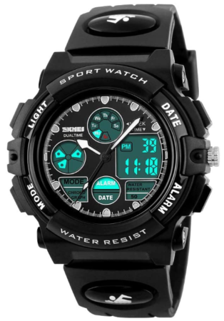 This is an image of boy's Digital watches in muylti funtion, black color