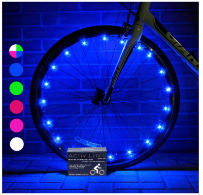 This is an image of girl's bike wheel lights with batteries in colorful colors