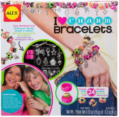 This is an image of girl's DIY wear charm bracelets activity