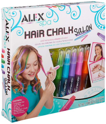 This is an image of kid's SPA hair chalk salon girls hair activity