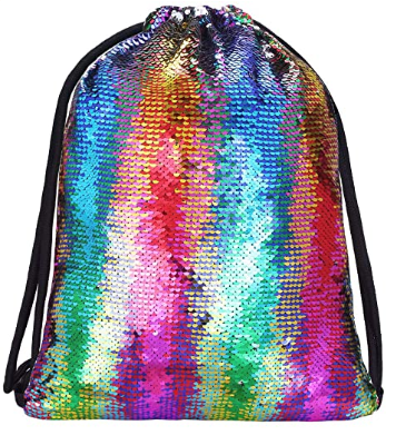 This is an image of kid's Mermaid drawsting bags in colorful colors