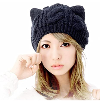 This is an image of kid's cute woolike kitty ear headgear hat in black color
