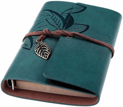 This is an image of girl's writing journal in dark blue color