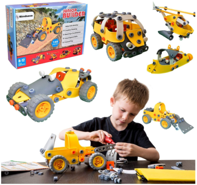 This is an image of kid's Build and play toy set in yellow and gray colors
