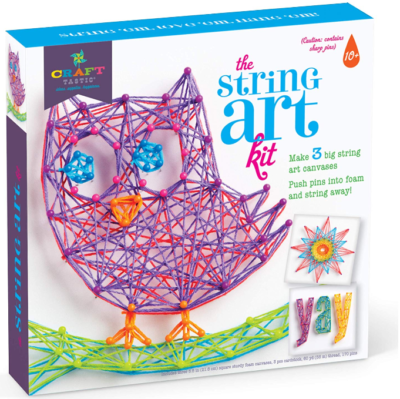 This is an image of kid's craft string art kit in varicolors